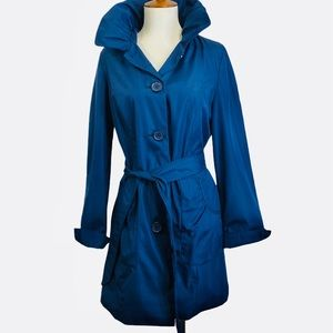 Dennis Basso Blue HoodedTrench Coat XS